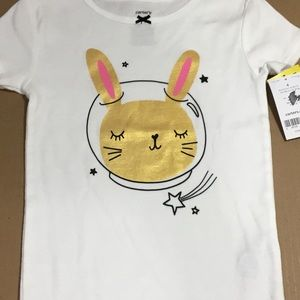Carter's Bunny Astronaut  White PJ Top Size 4